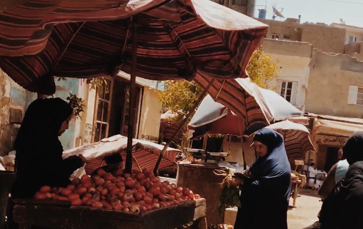 Market selling goods.