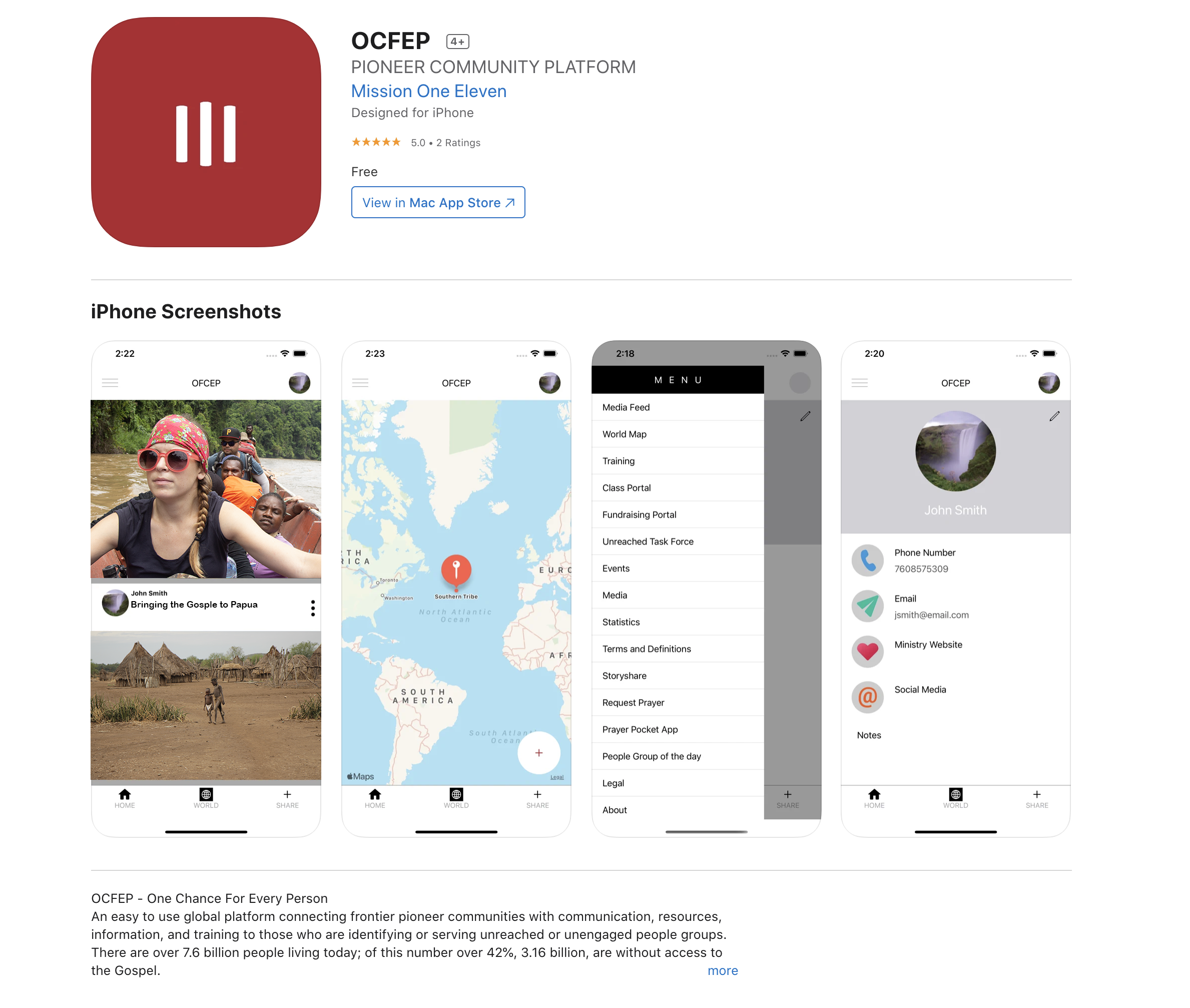 OCFEP App preview.